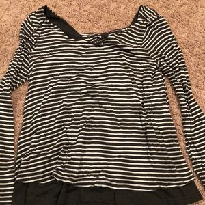 Stripe and bow long sleeve